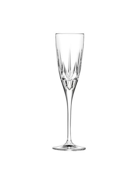 Kristall-Sektgläser Chic mit Relief, 6 Stück, Luxion-Kristallglas, Transparent, Ø 6 x H 24 cm