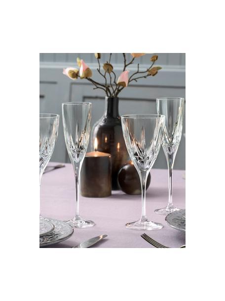 Copas flauta de champán de cristal con relieve Chic, 6uds., Cristal Luxion, Transparente, Ø 6 x Al 24 cm