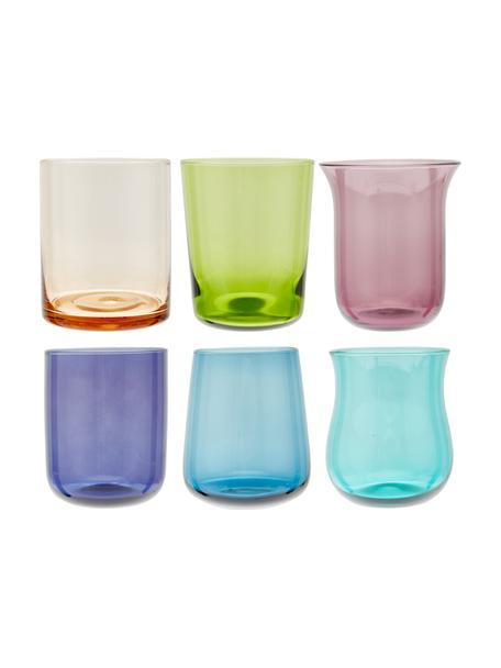Mondgeblazen waterglazen Diseguale in verschillende kleuren en vormen, 6 stuks, Mondgeblazen glas, Multicolour, Ø 8 x H 10 cm