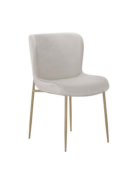 Fluwelen stoel Tess in lichtgrijs, Bekleding: fluweel (polyester), Poten: gepoedercoat metaal, Fluweel zilvergrijs, goudkleurig, 49 x 84 cm