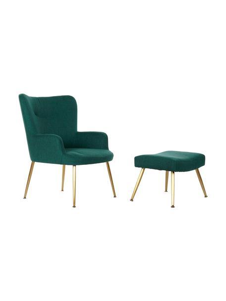 Fotel wypoczynkowy z podnóżkiem Paula, Tapicerka: 100% poliester, Nogi: metal malowany proszkowo, Zielony, odcienie złotego, S 67 x G 70 cm
