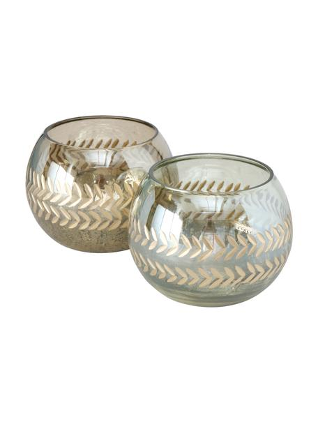 Waxinelichthoudersset Laurel, 2-delig, Glas, Goudkleurig, Ø 15 x H 11 cm