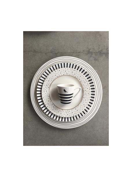 Set van 4 dinerborden Eris Loft met lijnversiering, Porselein, Wit, zwart, Ø 26 x H 2 cm