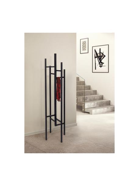 Perchero de pie Eigen, 5ganchos, Madera de roble maciza y pintada, Negro, An 47 x Al 175 cm