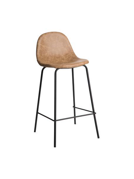 Taburete alto en cuero sintético Adeline, Tapizado: cuero sintético (poliuret, Estructura: madera curvada, Patas: metal, Beige, negro, An 42 x Al 87 cm