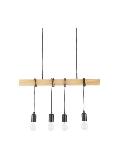 Lámpara de techo Townshend, Casquillo: acero, pintado, Anclaje: acero, pintado, Cable: plástico, Negro, madera, An 70 x Al 25 cm