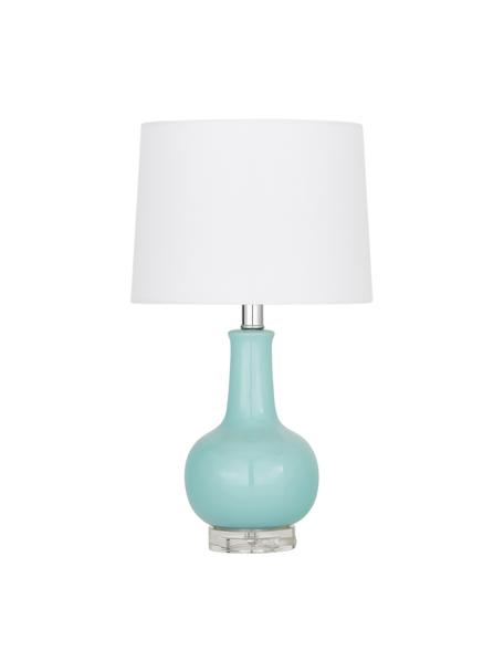 Keramische tafellamp Brittany in blauw, Lampenkap: textiel, Lampvoet: keramiek, Voetstuk: kristalglas, Wit, turquoise, Ø 28 x H 48 cm