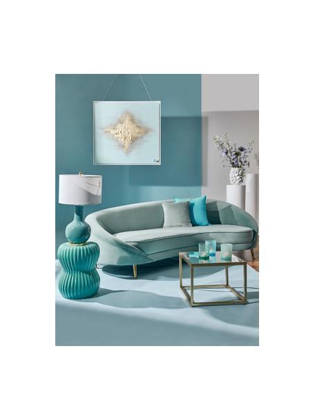 Lámpara de mesa de cerámica Brittany, Pantalla: tela, Cable: plástico, Blanco, turquesa, Ø 28 x Al 48 cm