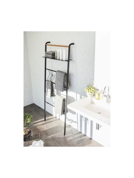 Metalen ladderrek Lena in zwart, Frame: gepoedercoat metaal, Stang: hout, Zwart, 66 x 160 cm