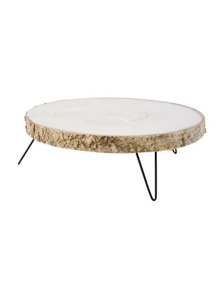 Tortenplatte Natural aus Holz, Ø 35 x H 12 cm, Platte: Holz, Fuß: Metall, beschichtet, Holz, Schwarz, Ø 35 x H 12 cm