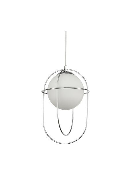 Hanglamp Axis met opaalglas, Lampenkap: glas, Baldakijn: metaal, Zilverkleurig, Ø 23 x H 37 cm