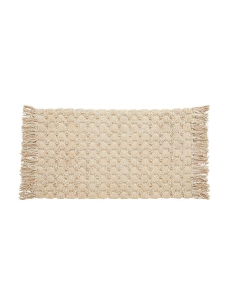 Alfombrilla de baño con flecos Luna, 100%algodón, Beige, An 60 x L 100 cm