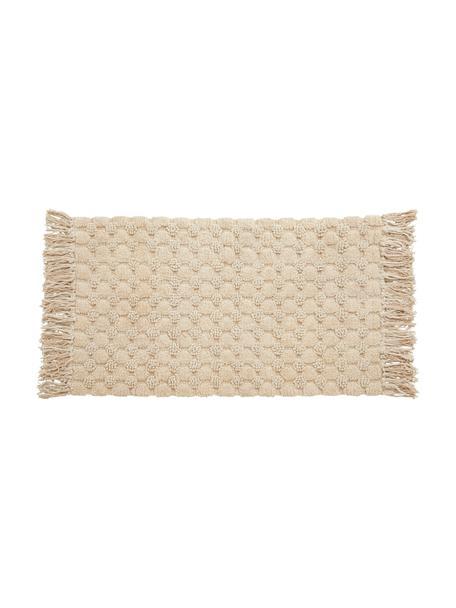 Dywanik łazienkowy z frędzlami Luna, 100% bawełna, Beżowy, S 60 x D 100 cm