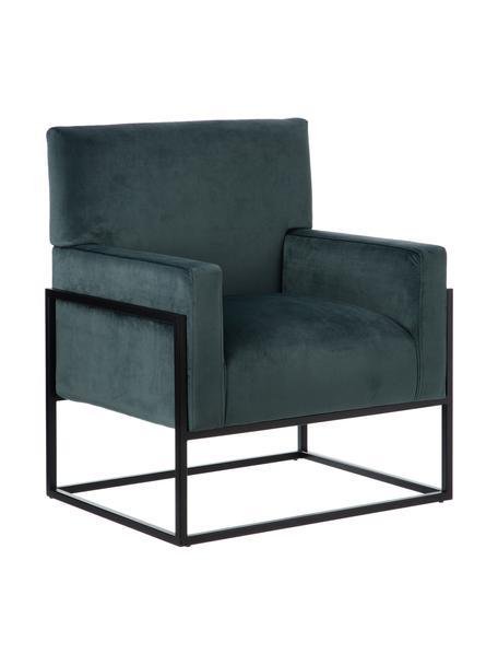 Fotel wypoczynkowy z aksamitu Pete, Tapicerka: 100% aksamit poliestrowy, Nogi: stal szlachetna, Ciemny zielony, czarny, S 67 x G 74 cm