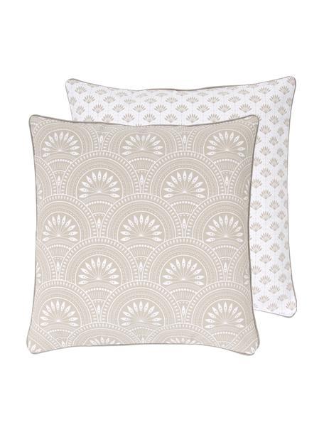 Dwustronna poszewka na poduszkę z bawełny organicznej Tiara, 100% bawełna organiczna, certyfikat GOTS, Beżowy, biały, S 45 x D 45 cm