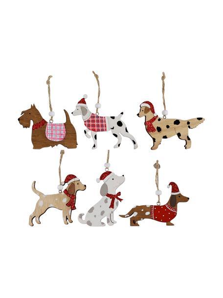 Set 12 ciondoli in legno Christmas Dogs, Legno, Multicolore, Larg. 11 x Alt. 8 cm