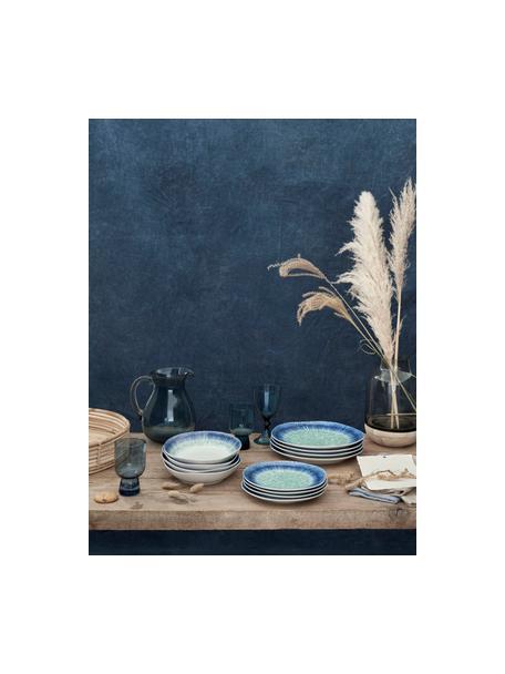 Geschirrset Antille aus Porzellan mit Farbverlauf in Blautönen, 6 Personen (18-tlg.), Porzellan, Blautöne, Set mit verschiedenen Größen