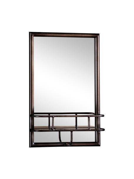 Specchio da parete con mensola in metallo nero Milton, Cornice: metallo verniciato, Superficie dello specchio: lastra di vetro, Nero, Larg. 30 x Alt. 48 cm