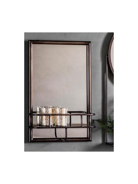 Espejo de pared Milton, con estantes, Espejo: cristal, Negro, An 30 x Al 48 cm
