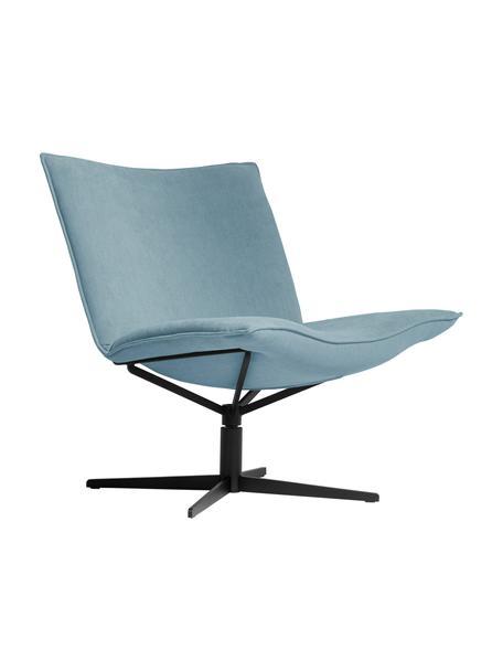 Fotel wypoczynkowy z aksamitu Mac, obrotowy, Tapicerka: 100% poliester, Noga: stal malowana proszkowo, Jasny niebieski, czarny, S 72 x G 74 cm