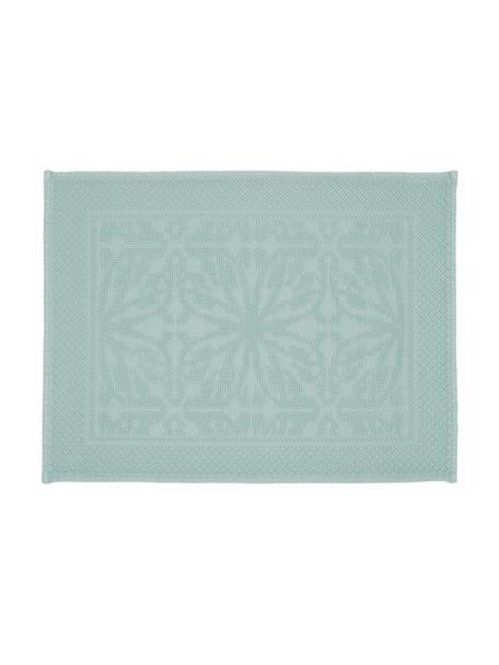 Baumwoll-Badvorleger Hammam mit Hoch-Tief-Muster, 100% Baumwolle, schwere Qualität, 1700 g/m², Mintgrün, 60 x 80 cm