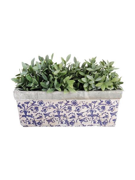 XL plantenpot Adela van keramiek, Keramiek, Blauw, grijs, gebroken wit, 40 x 15 cm