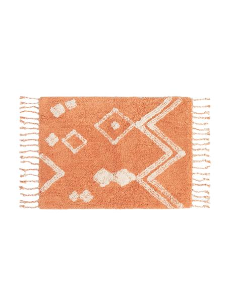 Badmat Fauve met boho patroon en kwastjes in oranje/wit, 100% katoen, Oranje, wit, 50 x 70 cm