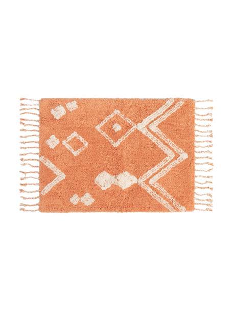 Tappeto bagno con motivo boho arancione/bianco e nappe Fauve, 100% cotone, Arancione, bianco, Larg. 50 x Lung. 70 cm
