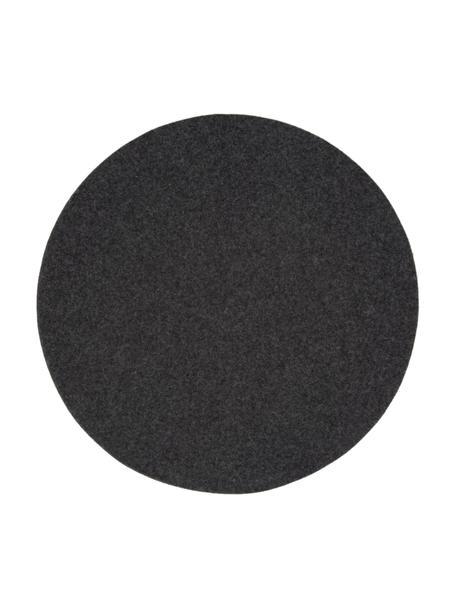 Ronde placemats Leandra, 4 stuks, 90% wol, 10% polyethyleen, Antraciet, Ø 40 cm