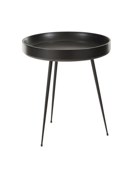 Design bijzettafel Bowl Table van mangohout, Tafelblad: gebeitst en gelakt mangoh, Poten: gepoedercoat staal, Zwart, Ø 46 x H 52 cm