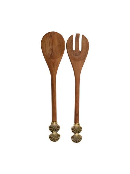 Set 2 posate da insalata in legno con conchiglie dorate sul manico Shell, Legno, metallo, Legno, dorato, Lung. 30 cm