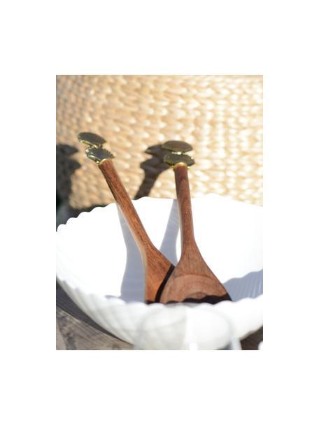 Komplet sztućców do sałatek z drewna Shell, 2 elem., Drewno, metal, Drewno naturalne, odcienie złotego, D 30 cm