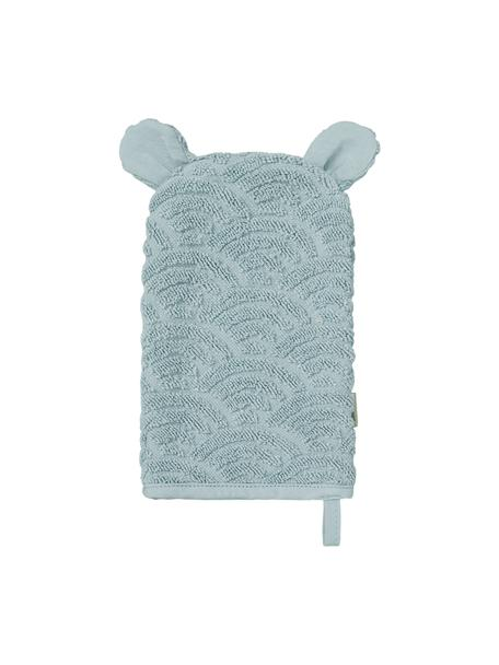 Manopla de baño de algodón ecológico Wave, 100%algodón ecológico, Azul, An 15 x L 22 cm