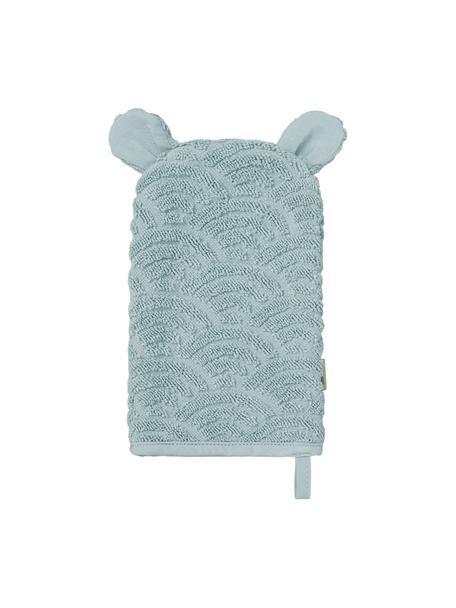 Waschlappen Wave aus Bio-Baumwolle, 100% Biobaumwolle, Blau, 15 x 22 cm