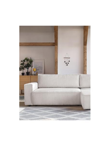 Sofá cama rinconero de pana Nihad, con espacio de almacenamiento, Tapizado: pana de poliéster, Patas: plástico, Beige, An 282 x F 153 cm