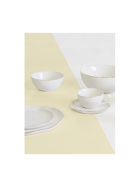 Ciotola fatta a mano con bordo dorato Bella, Porcellana, Bianco crema, Ø 22 x Alt. 10 cm