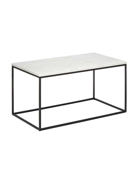 Marmor-Couchtisch Alys, Tischplatte: Marmor, Gestell: Metall, pulverbeschichtet, Tischplatte: Weiss-grauer MarmorGestell: Schwarz, matt, 80 x 40 cm