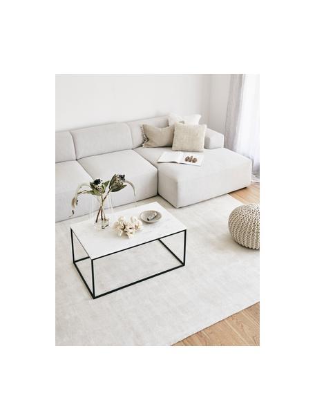 Marmor-Couchtisch Alys, Tischplatte: Marmor, Gestell: Metall, pulverbeschichtet, Weisser Marmor, Schwarz, 80 x 40 cm
