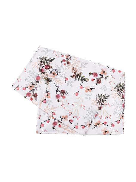 Katoenen tafelloper Beas met bloemen motief, 100% katoen, Roze, wit, groen, 50 x 160 cm
