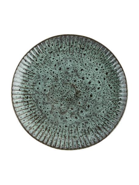 Platos llanos de gres Vingo, 2uds., Gres, Verde azulado, negro, Ø 28 cm
