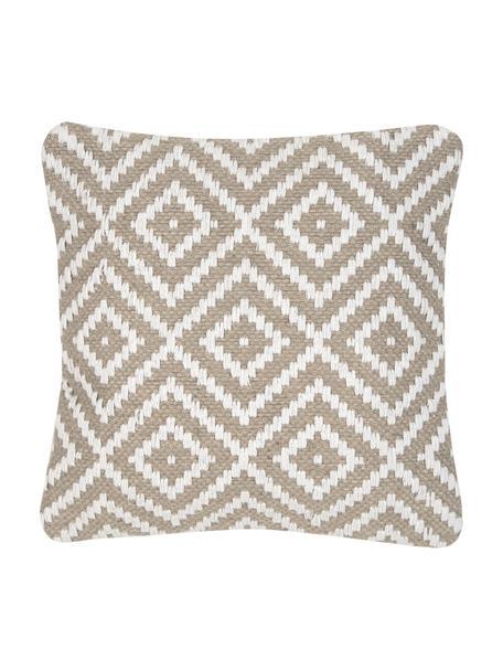 Federa arredo in juta/cotone misto Diajute, Retro: cotone, Fronte: beige, bianco crema Retro: beige chiaro, Larg. 45 x Lung. 45 cm