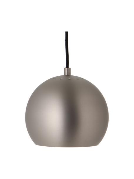 Lampada a sospensione a sfera color acciaio Ball, Paralume: metallo spazzolato, Baldacchino: metallo spazzolato, Acciaio, bianco, nero, Ø 18 x Alt. 16 cm