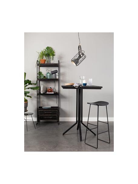 Taburete alto Tangle, Asiento: madera de teca reciclada , Patas: metal con pintura en polv, Negro, An 40 x Al 65 cm