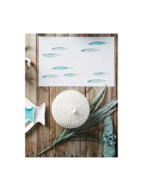 Kunststoffen placemats Bordemer, 2 stuks, Kunststof, Wit, blauw- en grijstinten, 30 x 45 cm