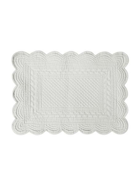Baumwoll-Tischsets Boutis in Hellgrau, 2 Stück, 100% Baumwolle, Hellgrau, 49 x 34 cm