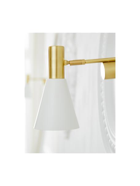 Wandlamp Sia met stekker, Lampenkap: gepoedercoat metaal, Frame: vermessingd metaal, Wit, messingkleurig, Ø 13 x H 27 cm