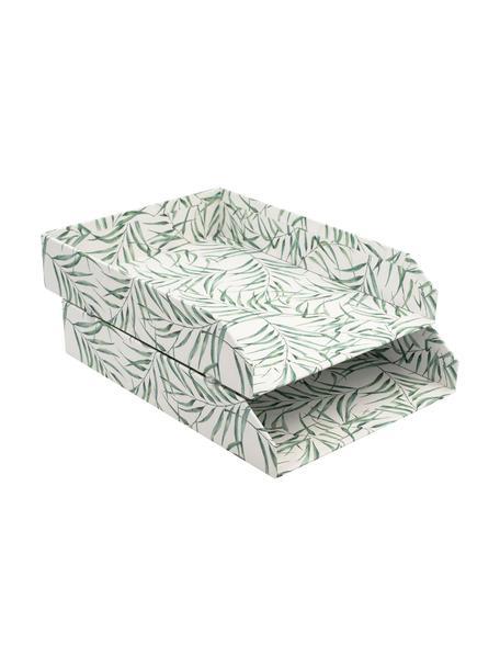 Dokumenten-Ablagen Leaf, 2 Stück, Fester, laminierter Karton, Weiss, Grün, B 23 x T 31 cm
