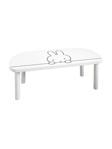 Holz-Kinderbank Miffy, Sitzfläche: Mitteldichte Holzfaserpla, Beine: Kiefernholz, Weiß, Schwarz, 64 x 25 cm