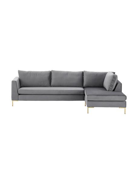 Sofa narożna z aksamitu z metalowymi nogami Luna, Tapicerka: aksamit (poliester) Dzięk, Nogi: metal galwanizowany, Aksamitny ciemny szary, złoty, S 280 x G 184 cm