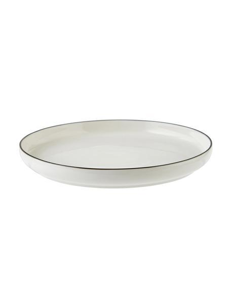 Porseleinen ontbijtborden Facile Ø 20 cm met zwarte rand, 2 stuks, Porselein, Zwart, Ø 20 x H 2 cm